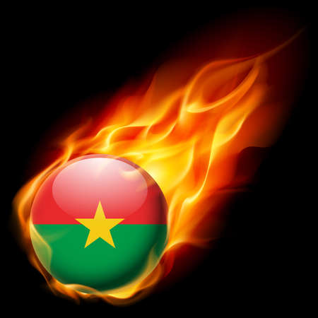 burn: Flag of Burkina Faso as round glossy icon burning in flame