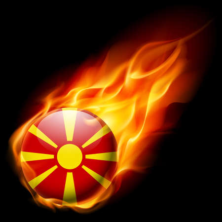 burn: Flag of Macedonia as round glossy icon burning in flame