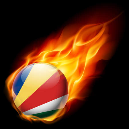 an island tradition: Flag of Seychelles as round glossy icon burning in flame