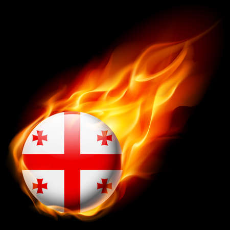 georgia flag: Flag of Georgia as round glossy icon burning in flame