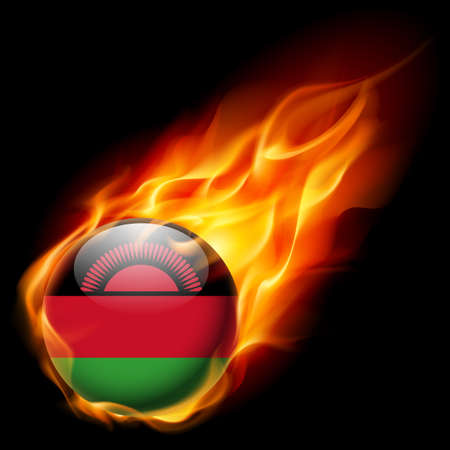malawian: Flag of Malawi as round glossy icon burning in flame Illustration