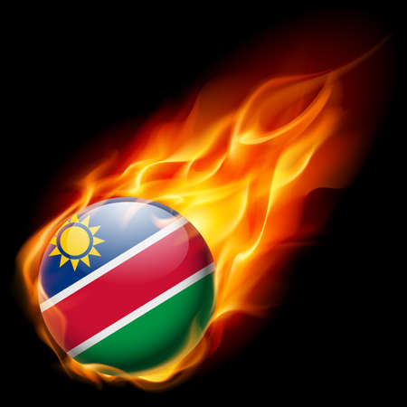 namibia: Flag of Namibia as round glossy icon burning in flame