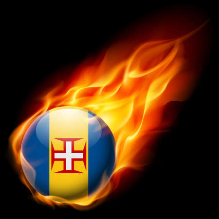 madeira: Flag of Madeira as round glossy icon burning in flame