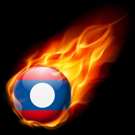 quemadura: Flag of Laos as round glossy icon burning in flame Vectores