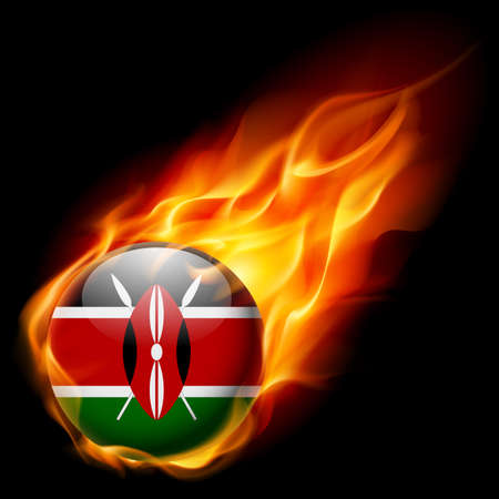red green: Flag of Kenya as round glossy icon burning in flame Illustration