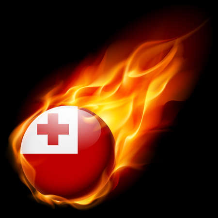 burn: Flag of Tonga as round glossy icon burning in flame Illustration