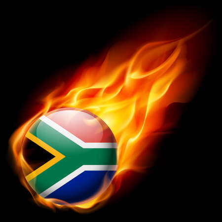 flames icon: Flag of South Africa as round glossy icon burning in flame