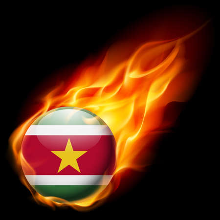 burn: Flag of Suriname as round glossy icon burning in flame