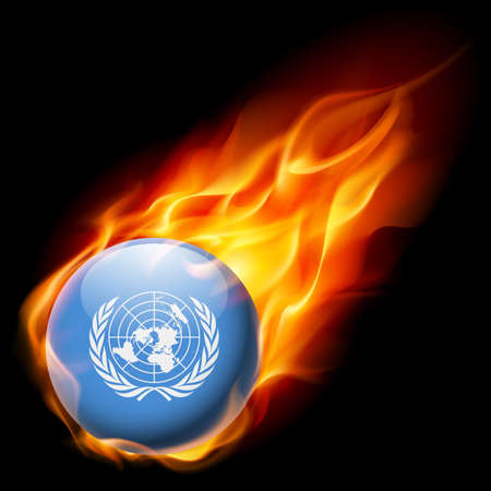 nações: Flag of United Nations as round glossy icon burning in flame
