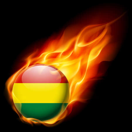 burn: Flag of Bolivia as round glossy icon burning in flame Illustration