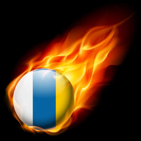 canary: Flag of Canary Islands as round glossy icon burning in flame Illustration