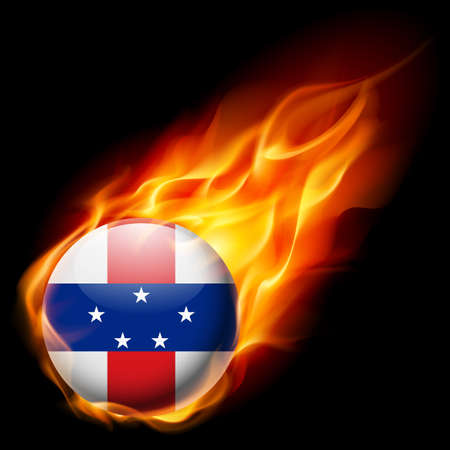 an island tradition: Flag of Netherlands Antilles as round glossy icon burning in flame