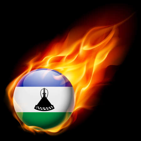 lesotho: Flag of Lesotho as round glossy icon burning in flame