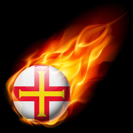 guernsey: Flag of Guernsey as round glossy icon burning in flame