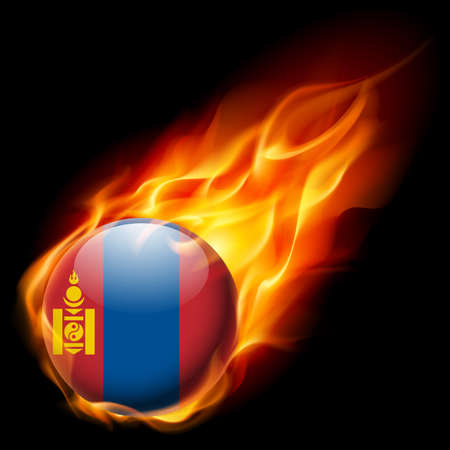 mongolia: Flag of Mongolia as round glossy icon burning in flame