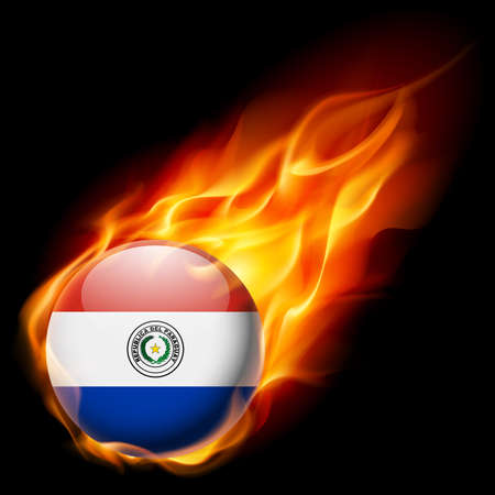 paraguay: Flag of Paraguay as round glossy icon burning in flame