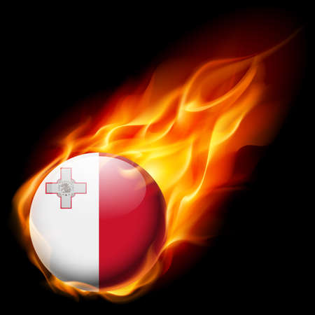 burn: Flag of Malta as round glossy icon burning in flame Illustration