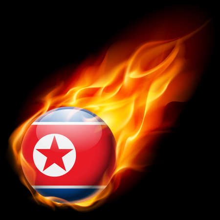 quemadura: Flag of North Korea as round glossy icon burning in flame