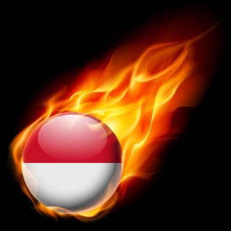 monegasque: Flag of Monaco as round glossy icon burning in flame Illustration