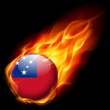 an island tradition: Flag of Samoa as round glossy icon burning in flame Illustration