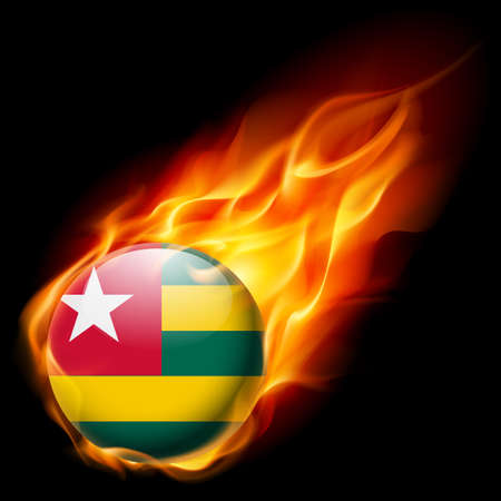 togo: Flag of Togo as round glossy icon burning in flame Illustration
