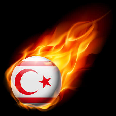 northern: Flag of Northern Cyprus as round glossy icon burning in flame