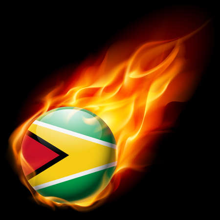 guyanese: Flag of Guyana as round glossy icon burning in flame