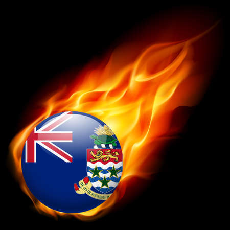 cayman: Flag of Cayman Islands as round glossy icon burning in flame