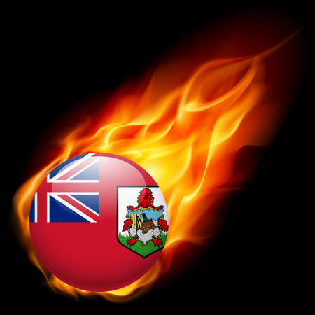 burn: Flag of Bermuda as round glossy icon burning in flame Illustration
