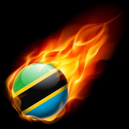 burns: Flag of Tanzania as round glossy icon burning in flame