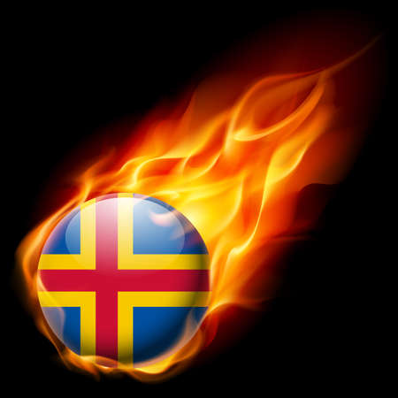 an island tradition: Flag of Aland Islands as round glossy icon burning in flame Illustration