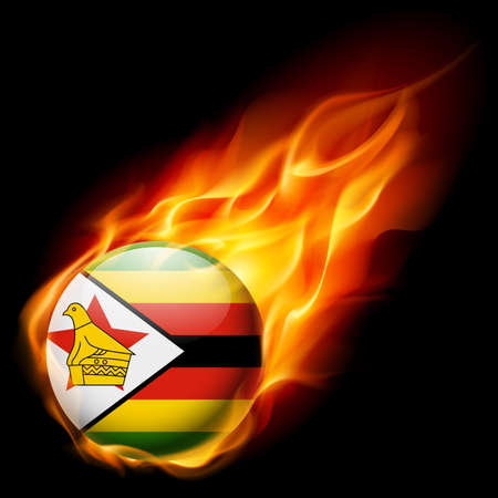burns: Flag of Zimbabwe as round glossy icon burning in flame