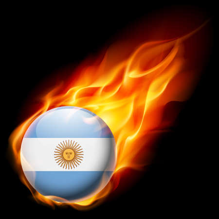 argentine: Flag of Argentina as round glossy icon burning in flame
