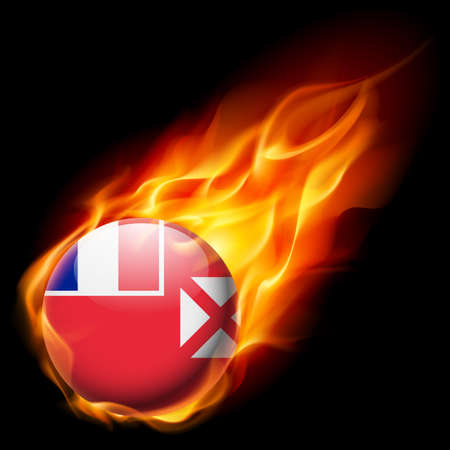burn: Flag of Wallis and Futuna as round glossy icon burning in flame