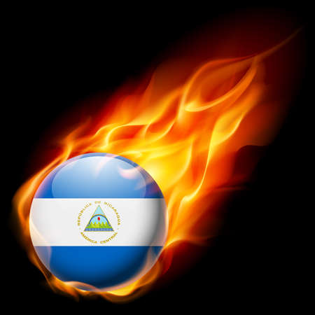 quemadura: Flag of Nicaragua as round glossy icon burning in flame Vectores
