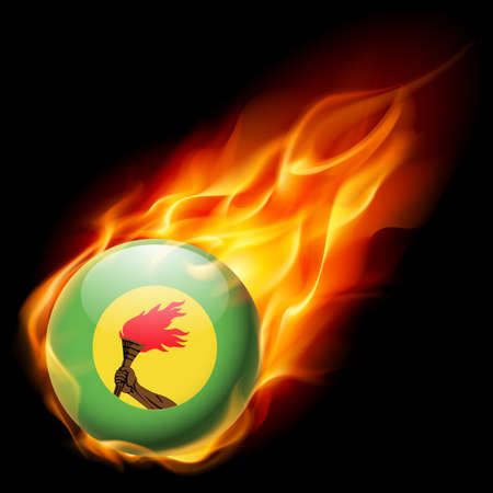 zaire: Flag of Zaire as round glossy icon burning in flame Illustration