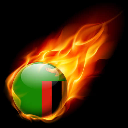 zambian flag: Flag of  Zambia as round glossy icon burning in flame Illustration