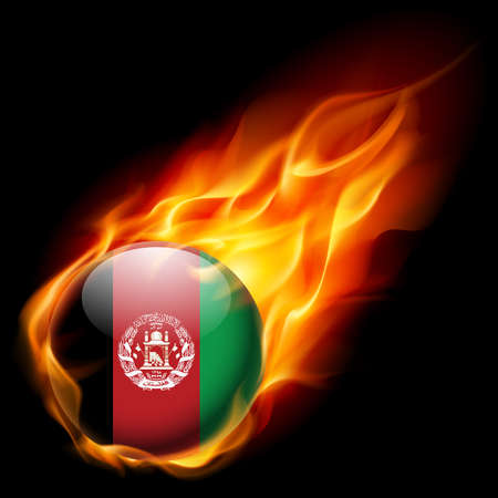 afghan flag: Flag of Afghanistan as round glossy icon burning in flame
