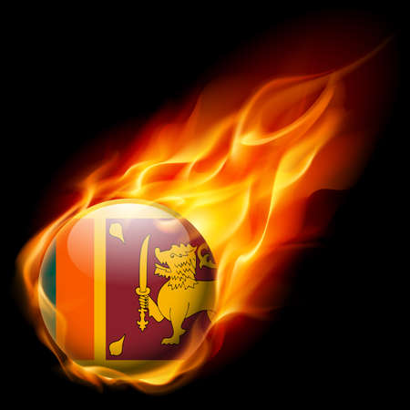 quemadura: Flag of Sri Lanka as round glossy icon burning in flame Vectores