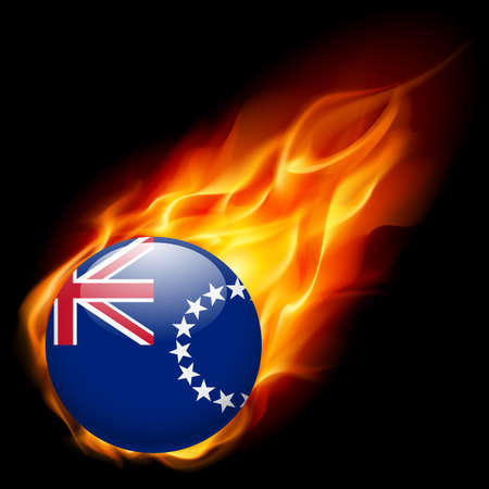 an island tradition: Flag of Cook Islands as round glossy icon burning in flame Illustration