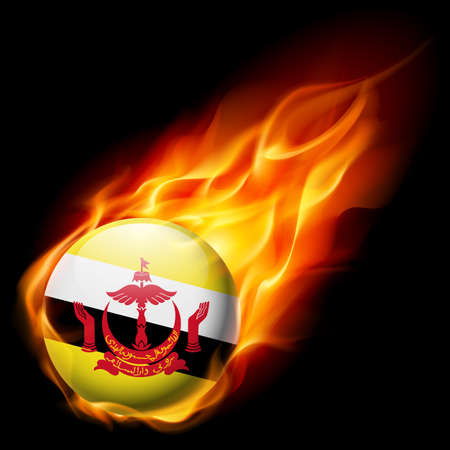 burn: Flag of Brunei as round glossy icon burning in flame