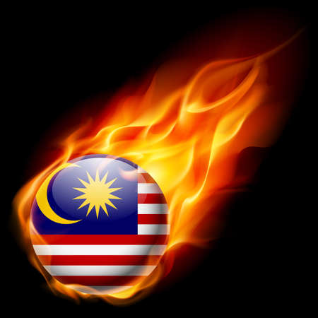 burns: Flag of Malaysia as round glossy icon burning in flame