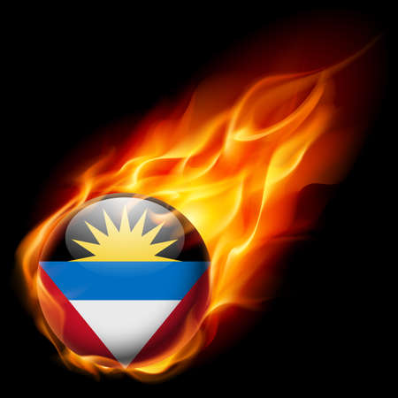antigua: Flag of Antigua and Barbuda as round glossy icon burning in flame