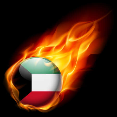 quemadura: Flag of Kuwait as round glossy icon burning in flame