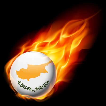 an island tradition: Flag of Cyprus as round glossy icon burning in flame