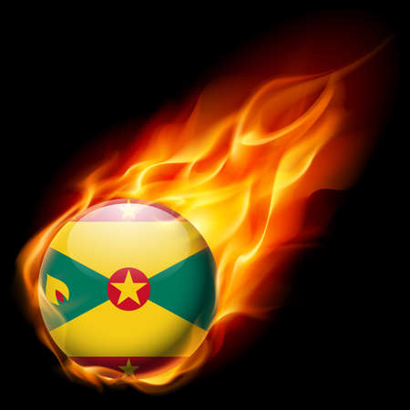 an island tradition: Flag of Grenada as round glossy icon burning in flame