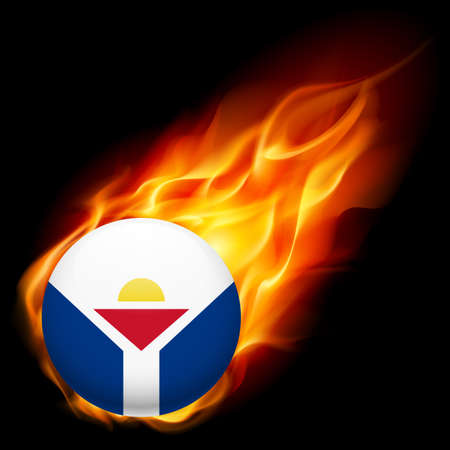 martin: Flag of Saint Martin as round glossy icon burning in flame Illustration