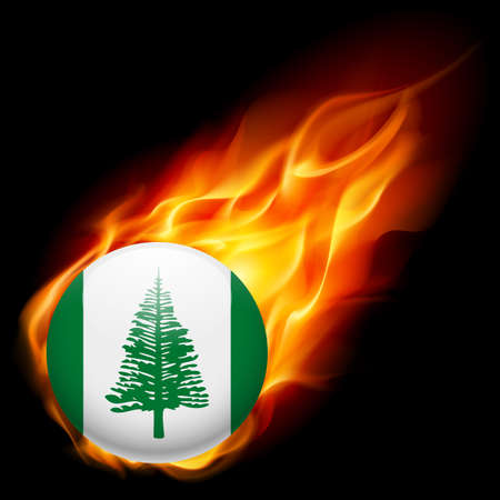 an island tradition: Flag of Norfolk Island as round glossy icon burning in flame