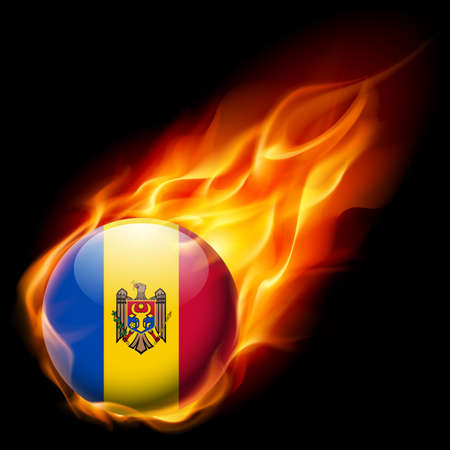moldovan: Flag of Moldova as round glossy icon burning in flame Illustration