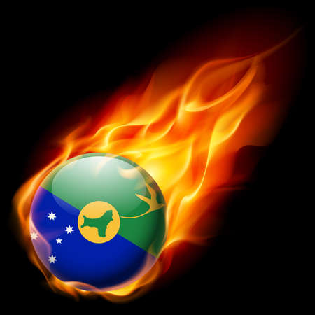 an island tradition: Flag of Christmas Island as round glossy icon burning in flame